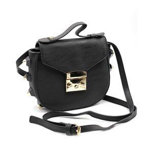 Fashion black buckle lady leather purse